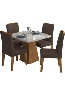 Sala De Jantar Helen 95 Cm Com 4 Cadeiras Savana/Off White Cacau