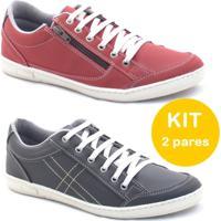 Kit Sapatenis Dexshoes Com Ziper - Masculino-Vermelho+Preto 5f1b2dbeaa1f6