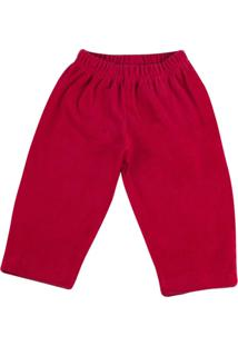 Calça Ano Zero Bebê De Malha Plush Cotelê - Vermelho G