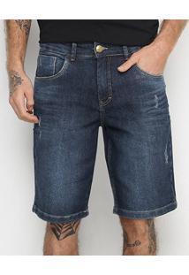 Bermuda Jeans Tks Estonada Puídos Masculina - Masculino-Azul