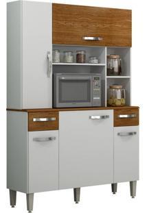 Armário De Cozinha 5 Portas Safira Sallêto Móveis Branco/Nogueira