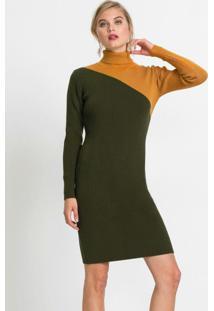 Vestido De Tricô Com Recorte Verde Amarelo