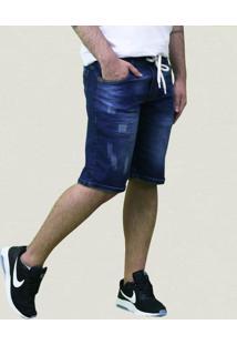 Bermudas Masculinas Jeans Lavado E Cordão Masculino