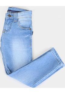 Calça Jeans Infantil Gansgter Clara Lavada Masculina - Masculino-Azul Claro