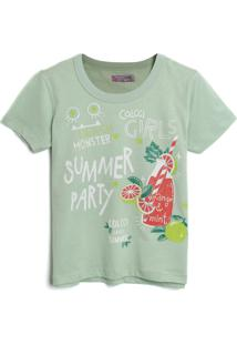 Camiseta Colcci Fun Menina Lettering Verde