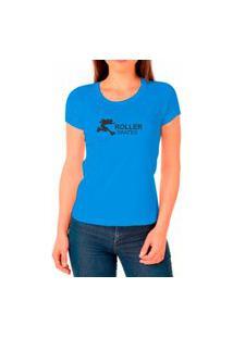 Camiseta Feminina Algodão Skates Confortável Leve Casual Azul