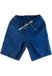 Bermuda Infantil Oliver Fleece Algodão Masculina - Masculino-Azul Escuro