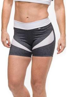 Short Power Gym Sandy Fitness - Feminino-Cinza+Branco