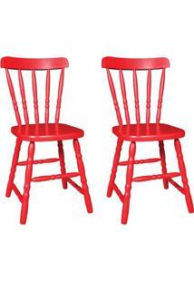 Conjunto 2 Cadeiras De Cozinha Dalas Vermelha - Única