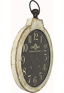 47e6839adda Relógio De Parede Chateau Branco Com Fundo Escuro Oval Em Ferro Oldway -  85X51 Cm