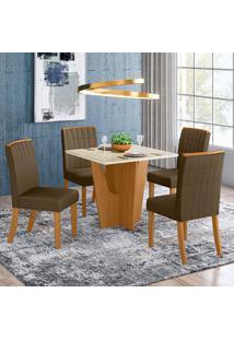 Conjunto De Mesa Com 4 Cadeiras Espanha-Henn - Nature / Off White / Bege