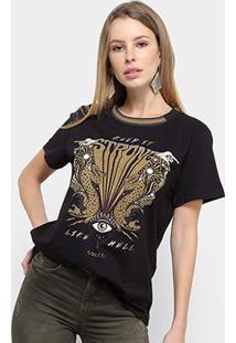 Camiseta Manga Curta Colcci Keep It Strong Feminina - Feminino-Preto