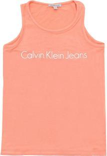 Camiseta Calvin Klein Kids Menina Escrita Laranja