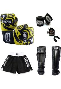 Kit Muay Thai Luva Bandagem Shorts Caneleira Bucal 08 Oz Tribal - Masculino