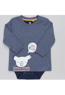 Body Camiseta Infantil Com Estampa De Coala Manga Longa Gola Careca Azul
