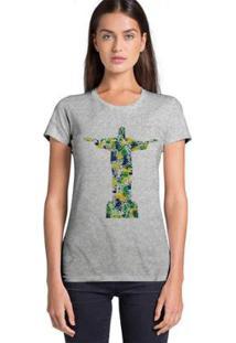 Camiseta Joss Feminina Estampada Aquarela Cristo - Feminino-Mescla