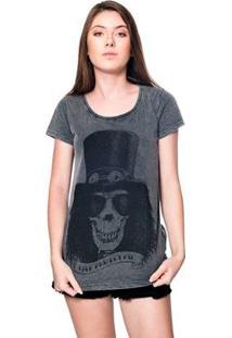 Camiseta Estonada Skull Slash Liverpool Feminina - Feminino-Preto