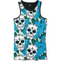 Camiseta Insane 10 Regata Caveiras Com Flores Sublimada Preto Verde 2a24a298719