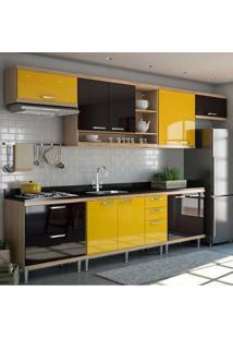 Cozinha Compacta 8 Peças C/ Tampo Sicília 5800-S1 - Multimóveis - Argila / Amarelo / Preto