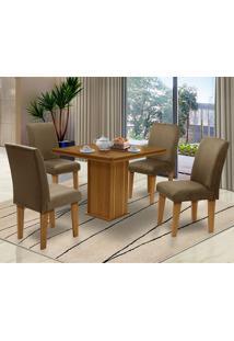 Mesa Para Sala De Jantar Com 4 Cadeiras Saint Thomas – Dobuê Movelaria - Mell / Castor