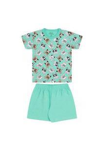 Pijama Infantil Menino Camiseta Manga Curta E Short Dog Verde Bicho Bagunça
