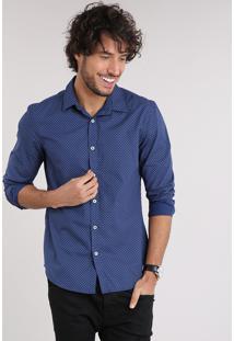 8fe8bb5fea Camisa Masculina Slim Estampada Mini Print Paisley Manga Longa Azul Marinho