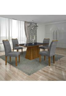 Conjunto De Mesa Com 4 Cadeiras Pampulha Ii Canela E Cinza
