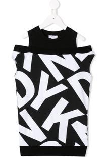 Dkny Kids Vestido Estampado - Preto