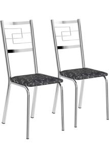 Kit 2 Cadeiras Tecil Fantasia Preto Cromado Móveis Carraro