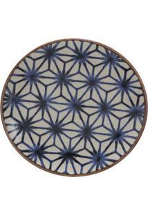 Prato De Sobremesa Em Cerâmica Asanoha Colors 20Cm Azul