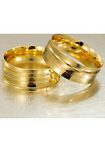 Aliança De Ouro Reta Fosca Com Brilhante - As1180