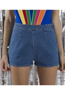 Short Jeans Hot Pants Com Botão E Zíper Lateral