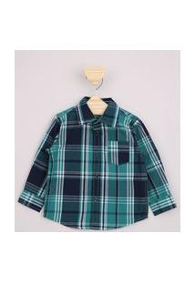 Camisa Infantil Xadrez Com Bolso Manga Longa Verde