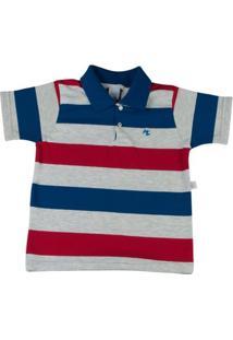 Camiseta Infantil Com Gola Cotton Listrado Andros - Masculino-Marinho