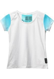 Camiseta Baby Look Feminina Algodão Estampa Estilo Leve Moda - Feminino-Azul Claro+Branco
