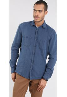 Camisa Masculina Comfort Com Bolsos Azul Escuro