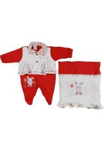 Enxoval Infantil Para Bebê Menina - Off White/Vermelho