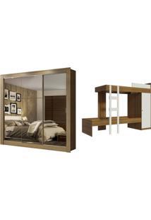 Kit Madesa Guarda-Roupa Infantil Texas Plus 3 Portas De Correr De Espelho + Beliche Larissa