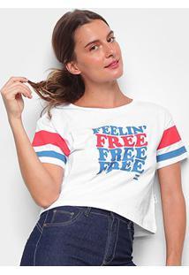 Camiseta Cropped Billabong Felling Free Feminina - Feminino-Branco