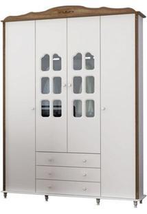 Guarda Roupa Infantil 04 Portas E 03 Gavetas Provence Teka Touch Com Branco Acetinado - Matic