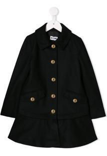 Moschino Kids A-Line Shape Coat - Preto