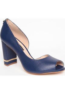Peep Toe Em Couro- Azul Marinho- Salto: 8,5Cmjorge Bischoff