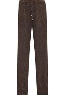 Calça Feminina Pijama Tricot Mescla Shine - Preto E Dourado