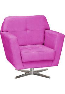 Poltrona Decorativa D'Rossi Esmeralda Suede Pink Com Base Giratória Em Aço Cromado