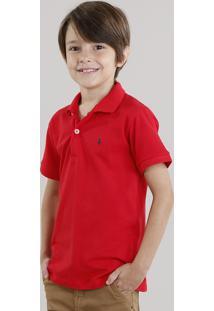 Polo Infantil Em Piquet Básica Manga Curta Com Botões Vermelha