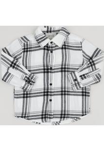 Camisa Infantil Estampada Xadrez Manga Longa Branca