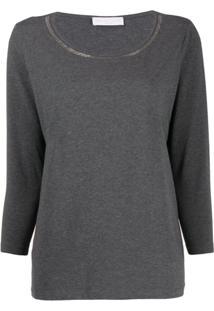 Fabiana Filippi Camiseta Manga Longa Com Decote Redondo E Detalhe De Correntinha - Cinza