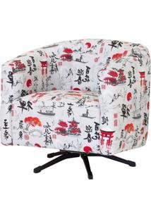 Poltrona Decorativa Giratória Com Balanço Bianca Suede Japão - D'Monegatto