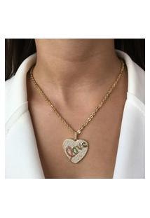 Colar Elo Cadeado Coração Love Dourado Com Zircônia Colorida