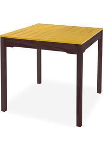 Mesa De Jantar Gourmet Compacta De Madeira Maciça Taeda Tabaco Com Tampo Colorido Olga - Verniz Tabaco/Amarelo 80X80X75Cm